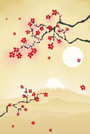 sakuras: Postal de flor de cerezo japon�s. Ilustraci�n