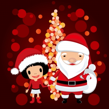 Santa claus and girl. Illustration vector.  Vector