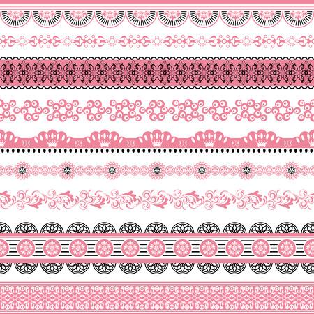 mo�o rosa: Conjunto de elementos de dise�o. Ilustraci�n vectorial.