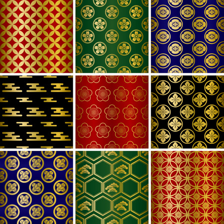 Japanese traditional patterns set. Illustration   Vector