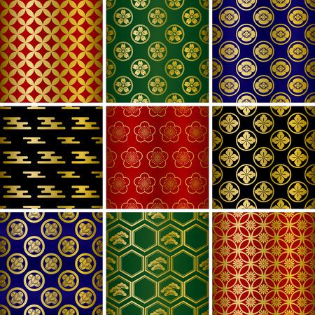 Japanse traditionele patronen set. Illustratie