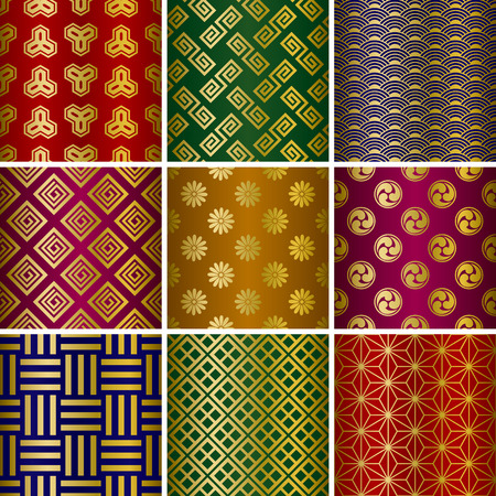 japan pattern: Japanse traditionele patronen set. Illustratie Stock Illustratie