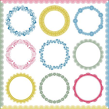 circle frame: Abstract retro frame elements set. Illustration