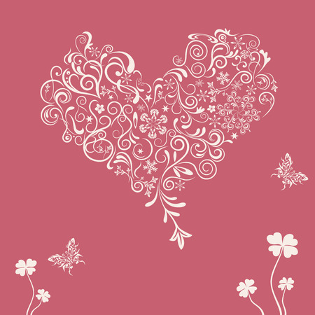 Abstract floral heart. Illustration vector. Banco de Imagens - 8274016