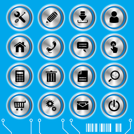 Blue website icons set. Illustration vector. Vector