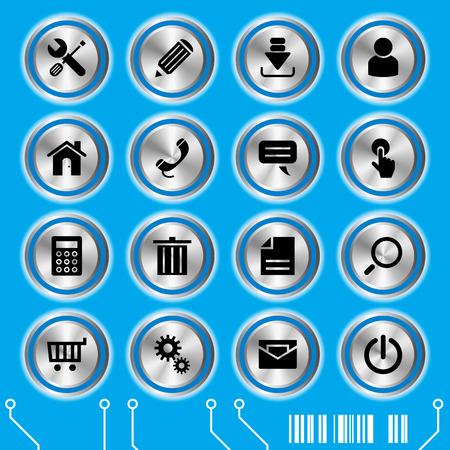 Blue website icons set. Illustration vector. Vector