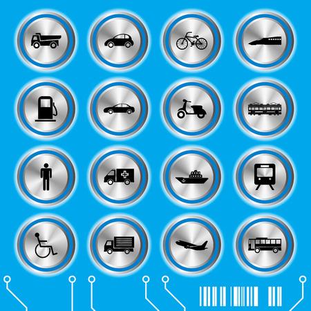 Blue transportation icons set. Illustration vector. Vector