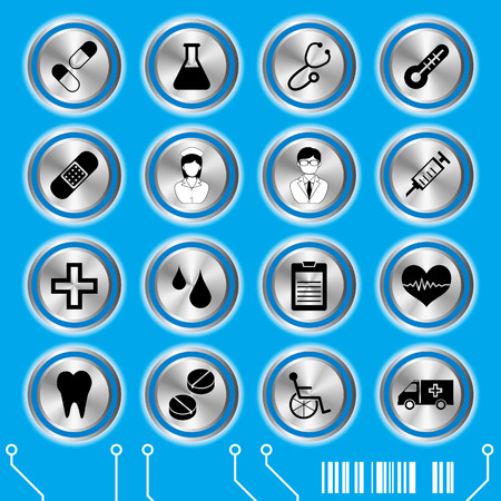 Blue medical icons set. Illustration vector. Stock Vector - 8274026