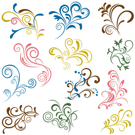 with sets of elements: Floral elements set. Illustration vector.
