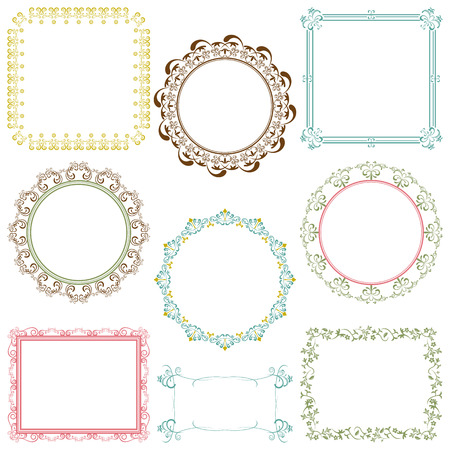 retro lace: Abstract retro frame elements set Illustration