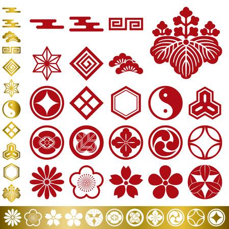ciruela: Conjunto de elementos tradicionales japoneses