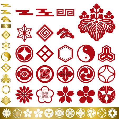 camellia: Set di elementi tradizionali giapponesi Vettoriali