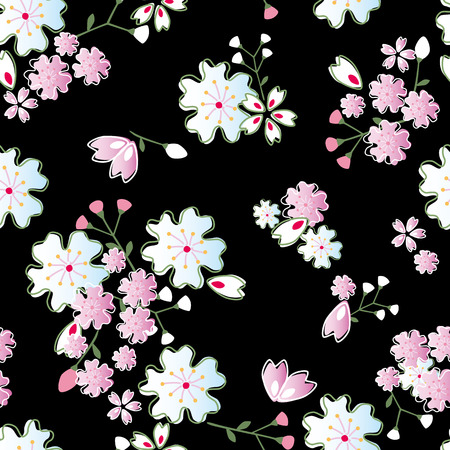Seamless japanese blossoms pattern. Illustration vector. Vector
