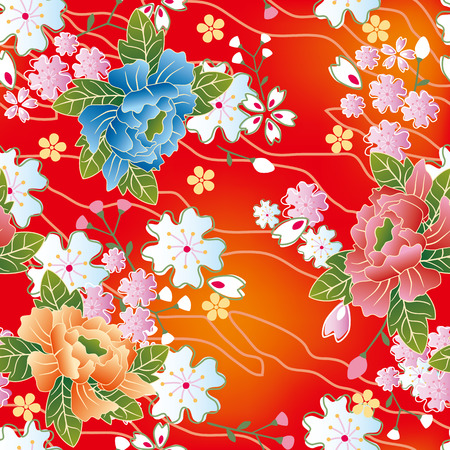 japanese kimono: Seamless japanese traditional pattern. Illustration vector. Illustration