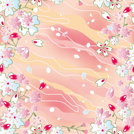 Seamless japanese cherry blossoms frame. Illustration vector. Stock Vector - 8408595