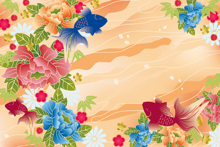 Japanese traditional card. Illustration vector. Vector