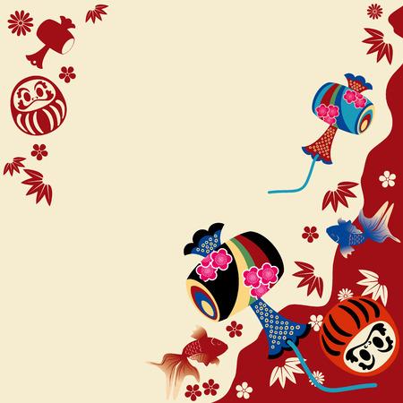 日本の伝統的なカード。イラスト ベクトル。