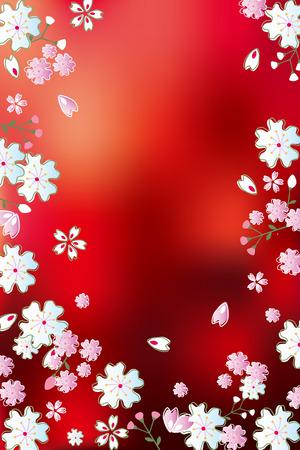 赤い花の抽象的な背景。イラスト ベクトル。