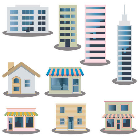 Building icons set. Architectures image  Vector
