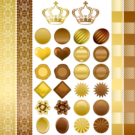 Chocolate color ornaments set. Illustration vector. Vector