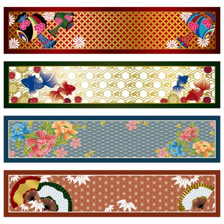 sakuras: Banners tradicionales japoneses. Ilustraci�n.  Vectores