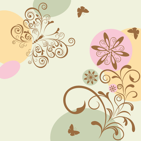 Abstract Floral and Butterfly. Illustration.
