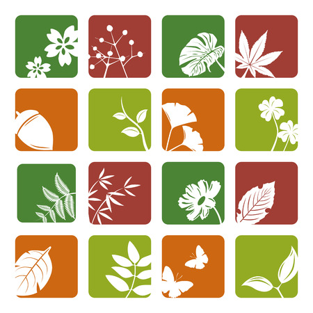 Leaf icons set. Illustration vector. Stock Vector - 8486565