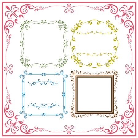 border line: Abstract retro frame elements set. Illustration vector.