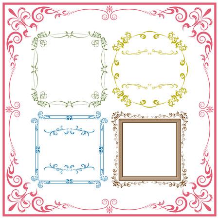 cute border: Set di elementi astratti cornice retr�. Illustrazione vettoriale.