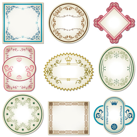 Abstract pastel labels set. Illustration vector.