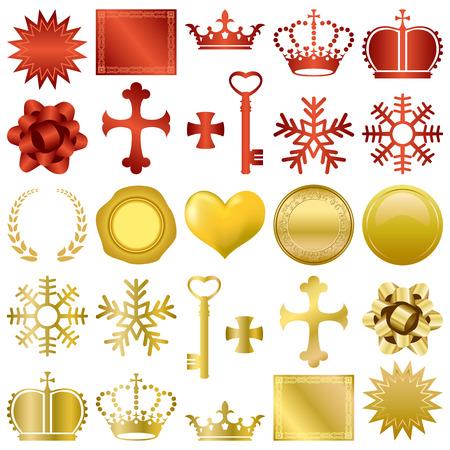 diadema: Conjunto de adornos de dise�os de Rojas  Vectores