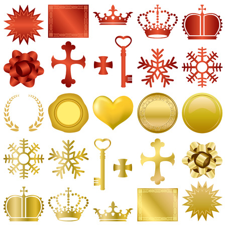 the sovereign: Gold and red design ornaments set