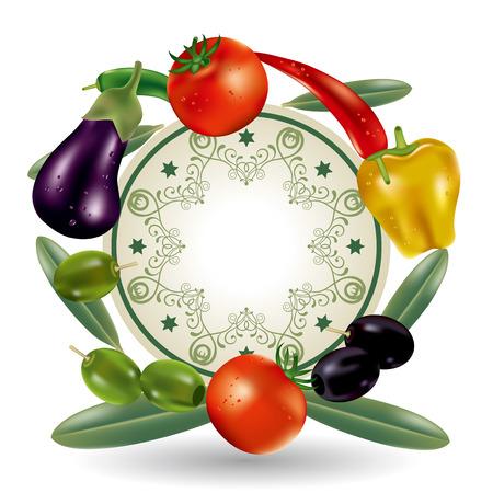berenjena: Marco de verduras. Ilustración vectorial. Vectores