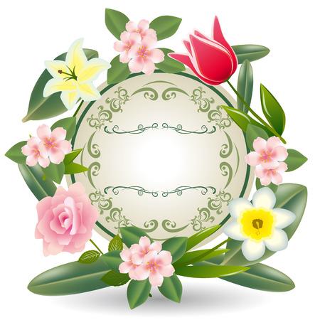 花のフレーム。イラスト ベクトル。