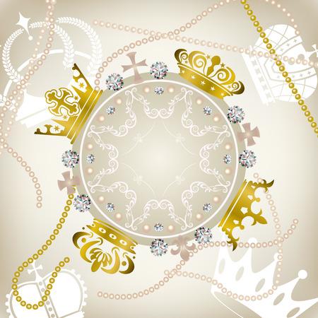 Decoration crowns frame. Illustration . Vector