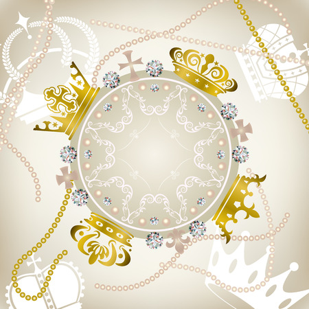Decoration crowns frame. Illustration . Vector