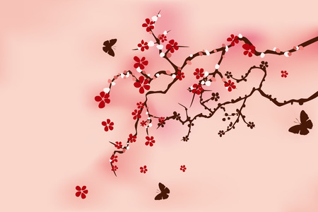Abstract Traditional Cherry Blossom Vector