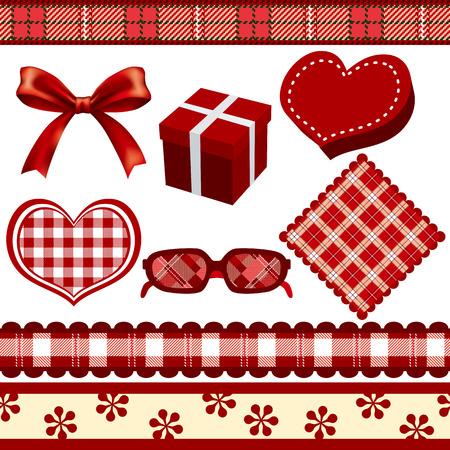 Red Decoration Set  イラスト・ベクター素材