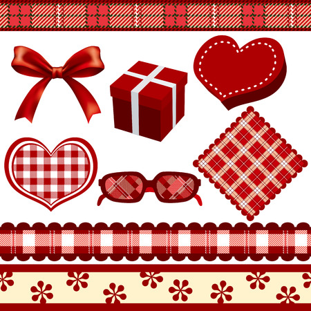 Red Decoration Set Vector