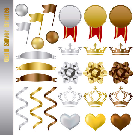 Gold Silver bronze Awards Set. Illustration  Vector