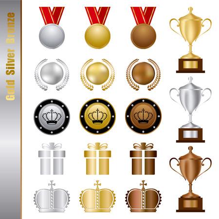 ranking: Gold Silver bronze Awards Set. Illustration