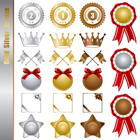 Gold Silver bronze Awards Set. Illustration  Stock Vector - 8646149