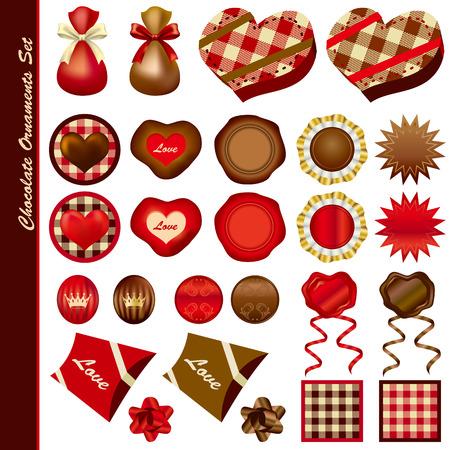 Chocolate ornaments set. Illustration Vector