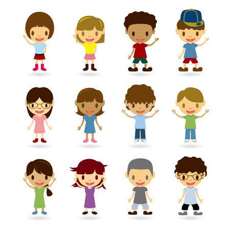 animated cartoon: Kids Model Set. Illustration