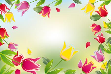 tulips isolated on white background: Tulip colorful card Illustration