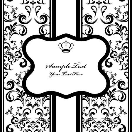 白黒装飾フレーム。図  イラスト・ベクター素材