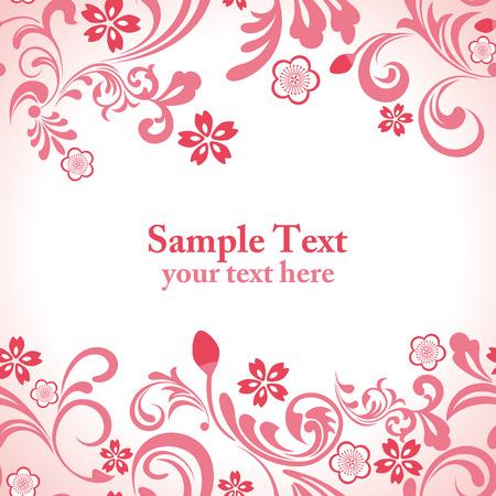 fleurs de cerisiers: Fleur de cerisier rose sans soudure frame  Illustration