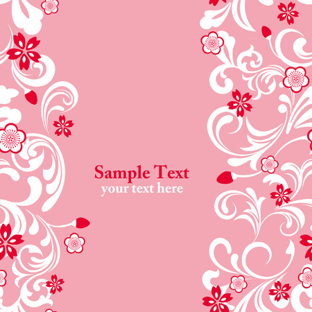 Seamless pink cherry blossom frame  Vector