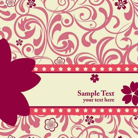 scratch card: Pink cherry blossoms background. Illustration