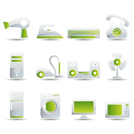 air cleaner: Conjunto de iconos de aparatos el�ctricos. Ilustraci�n
